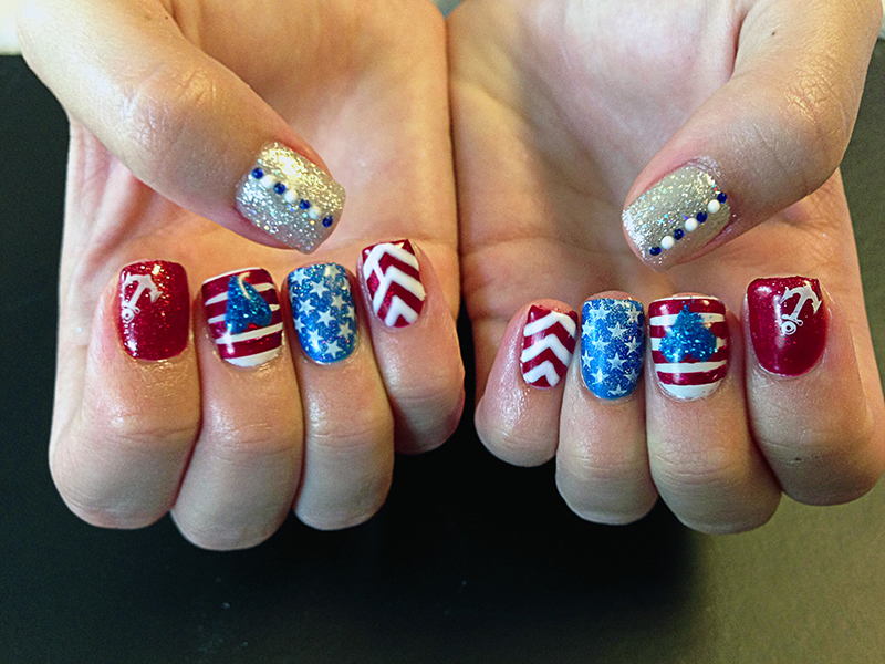 Gel polish chic nail styles red white and blue gel polish prinsesfo Image collections