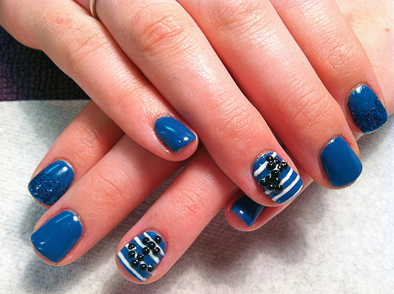 Nautical Sailor Themed Gel Nails