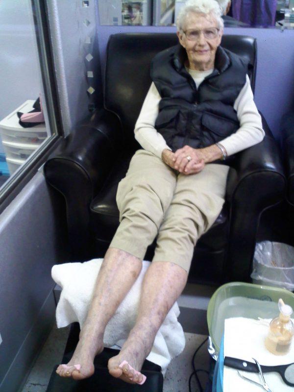 grandma getting pedicure