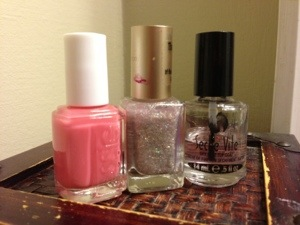Essie Shop Till I Drop with Loreal Silver Sparkle mani - Chic Nail Styles