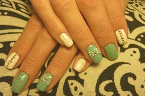 Tiffany glam mani with China Glaze For Audrey and OPI Snow....oh and 24 carat gold glitter for an added bonus!