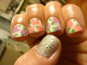 China Glaze Dandy Lyin Around with Essie and China Glaze on the flowers and Layla Cosmetics Silver Sparkle