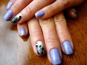 Ombre Sparkles, Grey Ombre, Lavender, Leopard Spots Nail Art