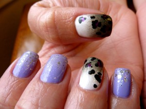China Glaze Tart-y For The Party, Dandy Lyin Around, Grey Ombre, Leopard Spots Nail Art