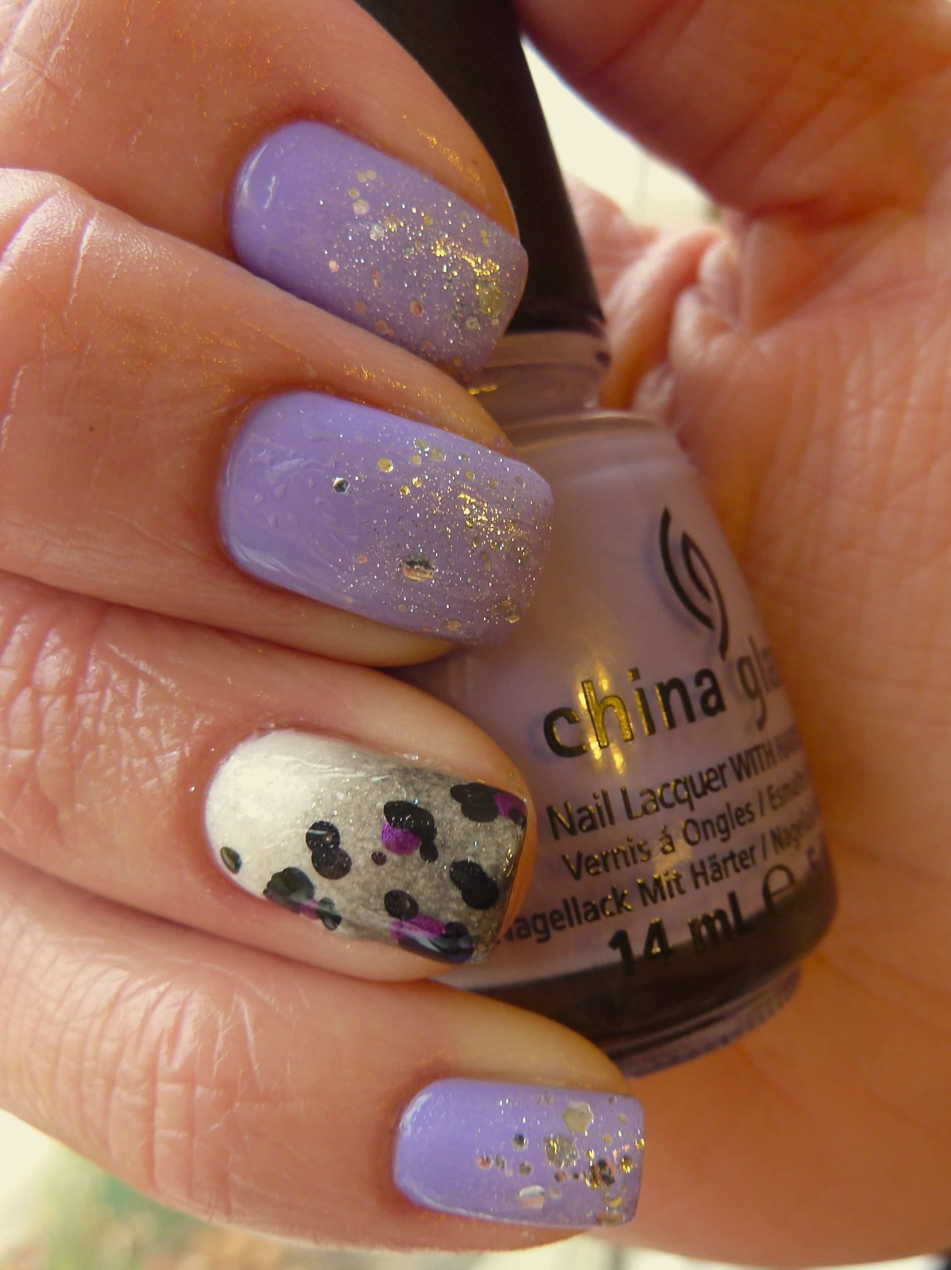 Tutorial for china glaze tart y for the party with grey ombre and china glaze tart y for the party grey ombre leopard print nail art prinsesfo Image collections