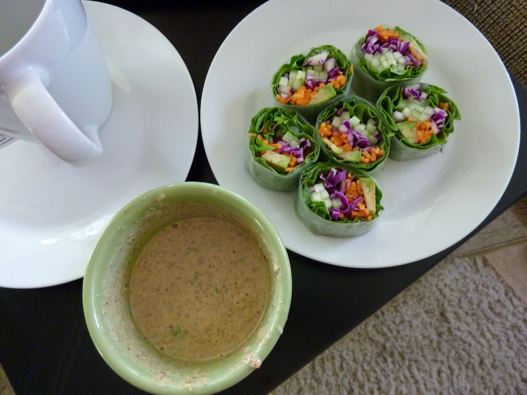 healthy spring rolls with homemade almond coconut dressing
