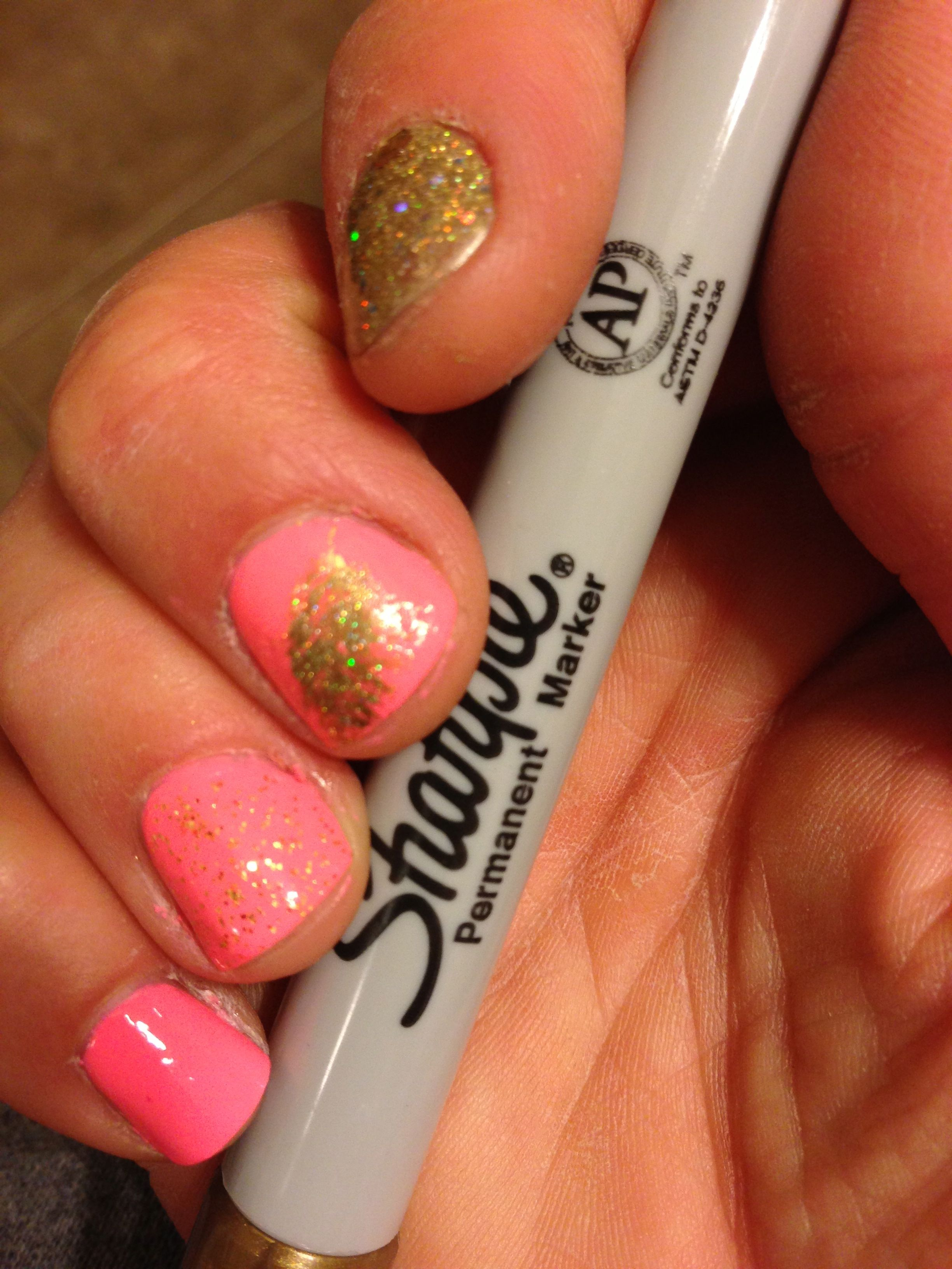 How to do feather nail art with a metallic sharpie chic nail styles next take a fine glittery gold polish i used china glaze angel wings which is prinsesfo Gallery