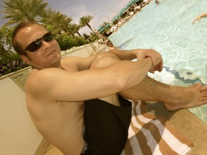 And another pic of my hubz sitting poolside at the Trump...of course I don't have any pics of myself at the Cabana :)