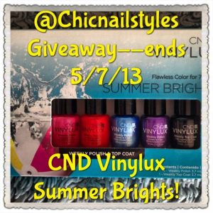 Make sure to follow me on Instagram to win this Vinylux Kit! Rules are on my Instagram account @chicnailstyles