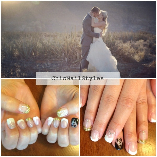 Black, White, And Gold Wedding Nails With Tuxedo And