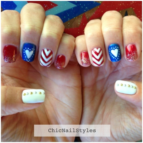 Patriotic Red White And Blue Nailart