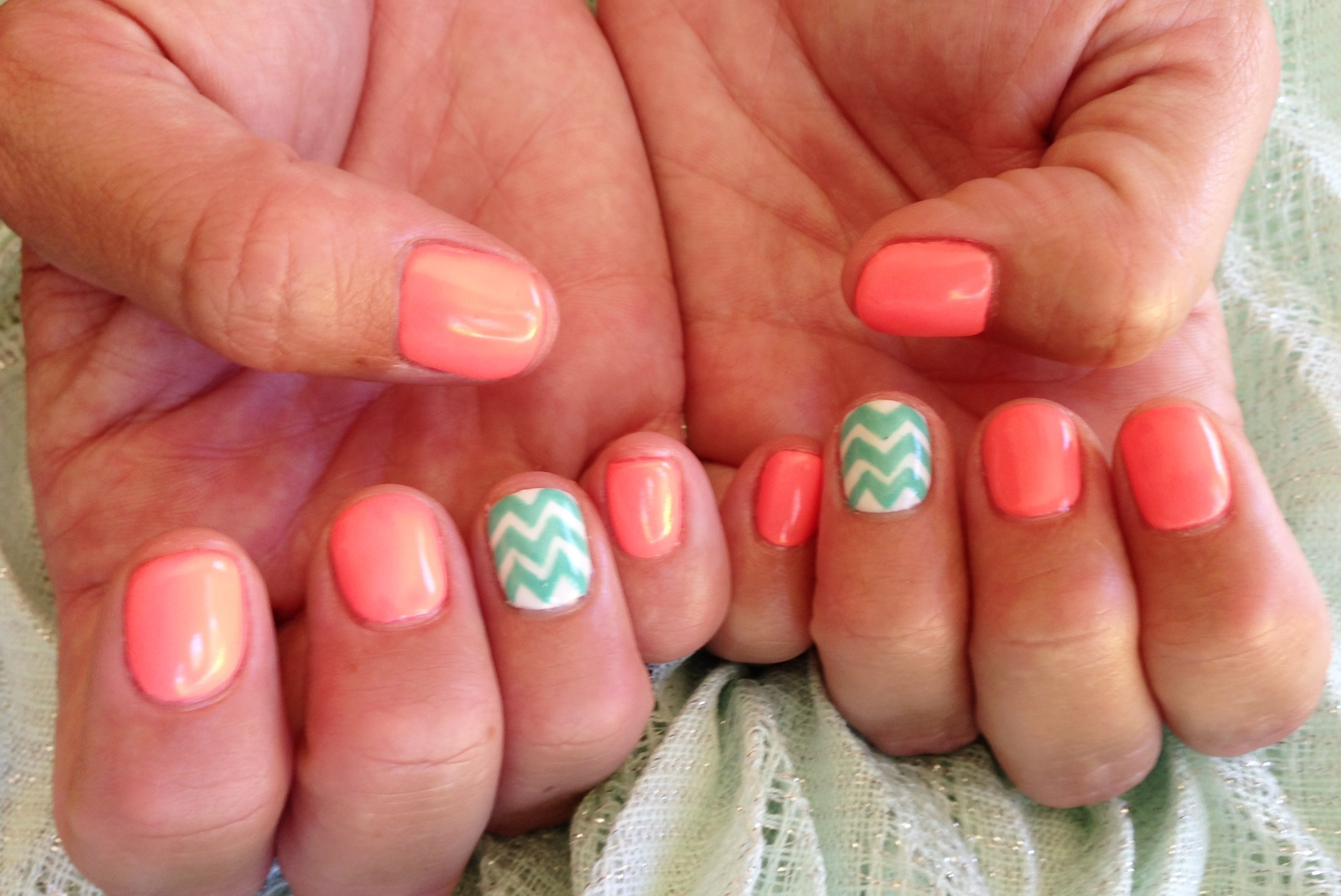 Neon peach and turquoise summer nail art! - Chic Nail Styles