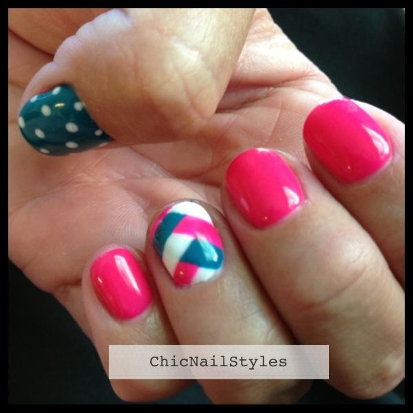 Neon summer braided nail design