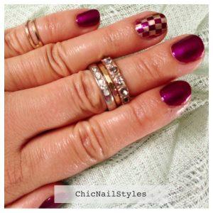 Magenta with Gold nail art