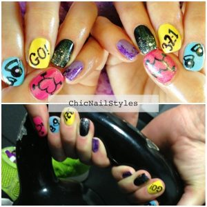 I got inspiration from WodLove for these nails...a totally awesome Crossfit clothing company!
