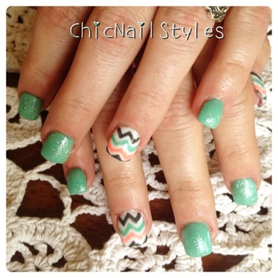 You can't go wrong with mint and chevron!