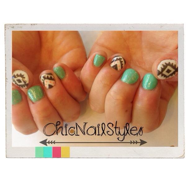 aztec tribal nail art