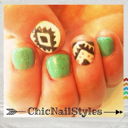 aztec nail art with mint green polish