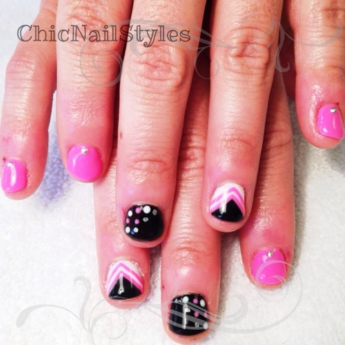 Neon Pink Black White Silver Nails