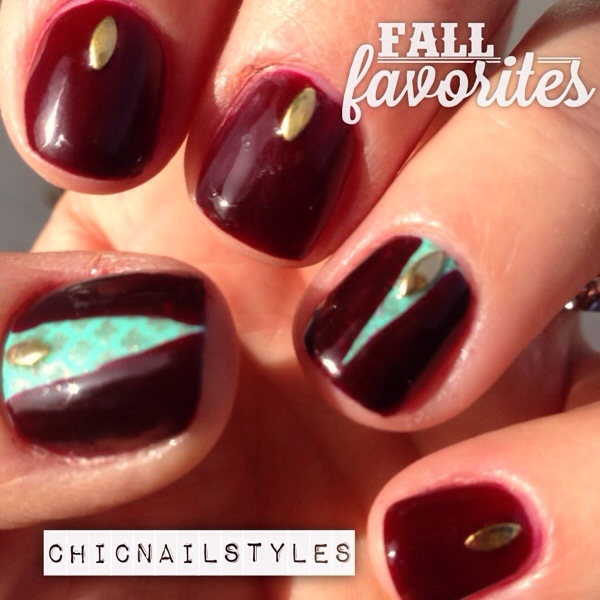 Fall Maroon and Turquoise Nails - Chic Nail Styles