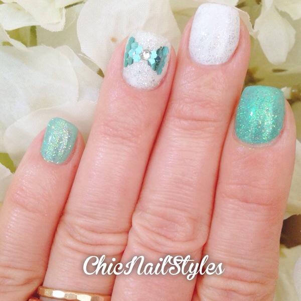 Gelish mint of spring with glitter and hex glitter nail art