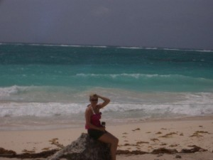 Here I am at the windy Tulum Ruins beach!
