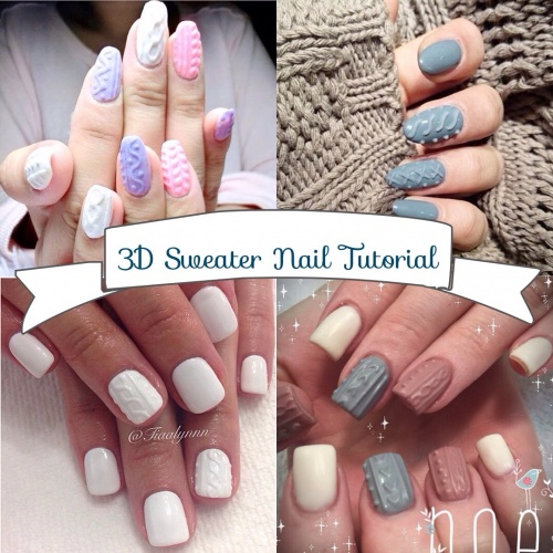 3D Sweater Nail Art